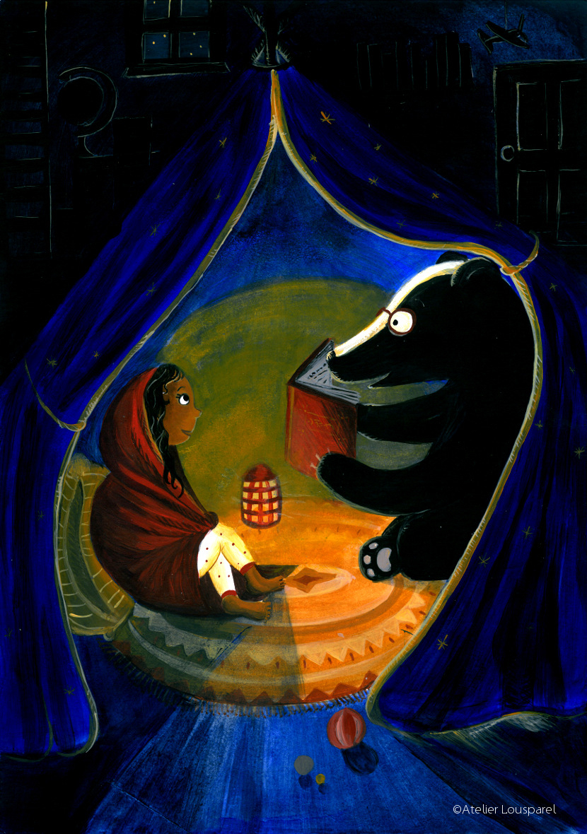 ©atelier_lousparel_affiche_décoration_enfants_illustration _histoire blaireau_fille