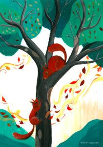 affiche_décoration_enfants_illustration_écureuil_jouer_atelier_lousparel