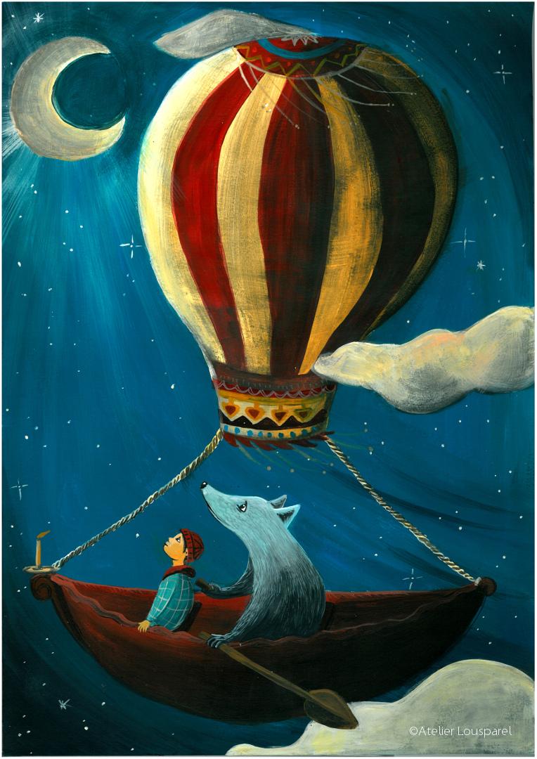 Affiche • Voyage en montgolfière •
