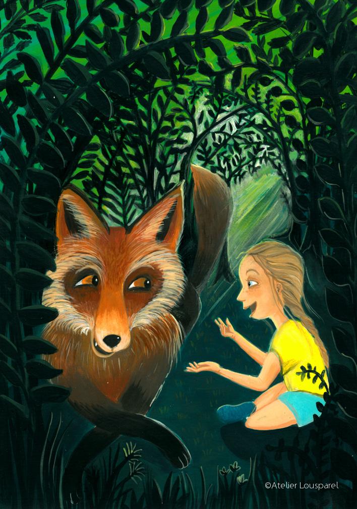 ©atelier_lousparel_affiche_décoration_enfants_illustration_discussion_renard_fille