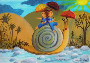 ©atelier_lousparel_affiche_décoration_enfants_illustration_escargot_jumelle_fille