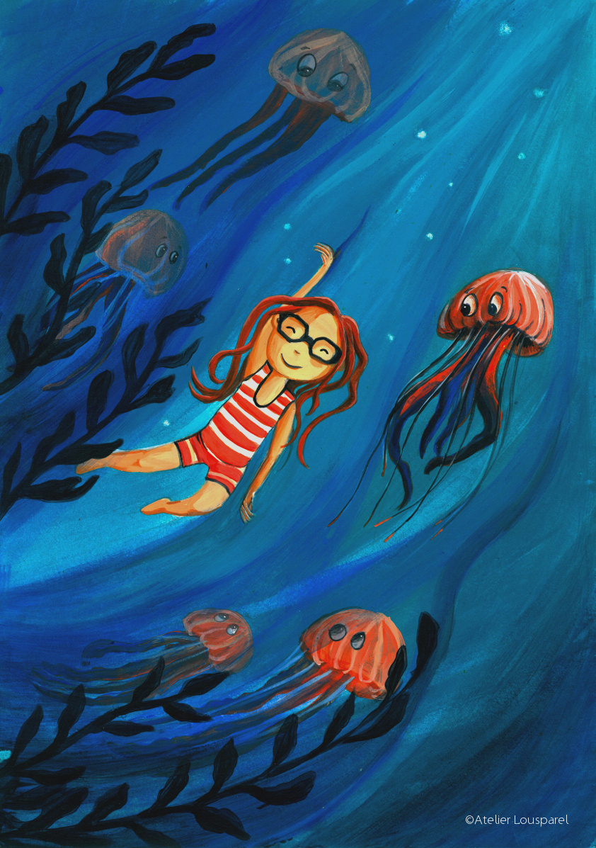 ©atelier_lousparel_affiche_décoration_enfants_illustration_fille_nager_méduse