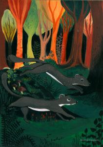 affiche_décoration_enfants_illustration_hermines_courir_atelier_lousparel
