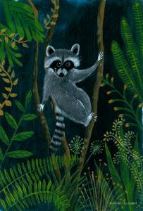 affiche_décoration_enfants_illustration_raton_laveur_escalader_atelier_lousparel