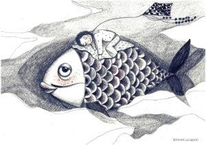 illustration_enfant_décoration_noir_blanc_poisson_fille_dodo_atelier_lousparel