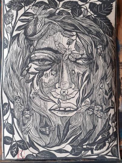 Linogravure , visage et insecte A3