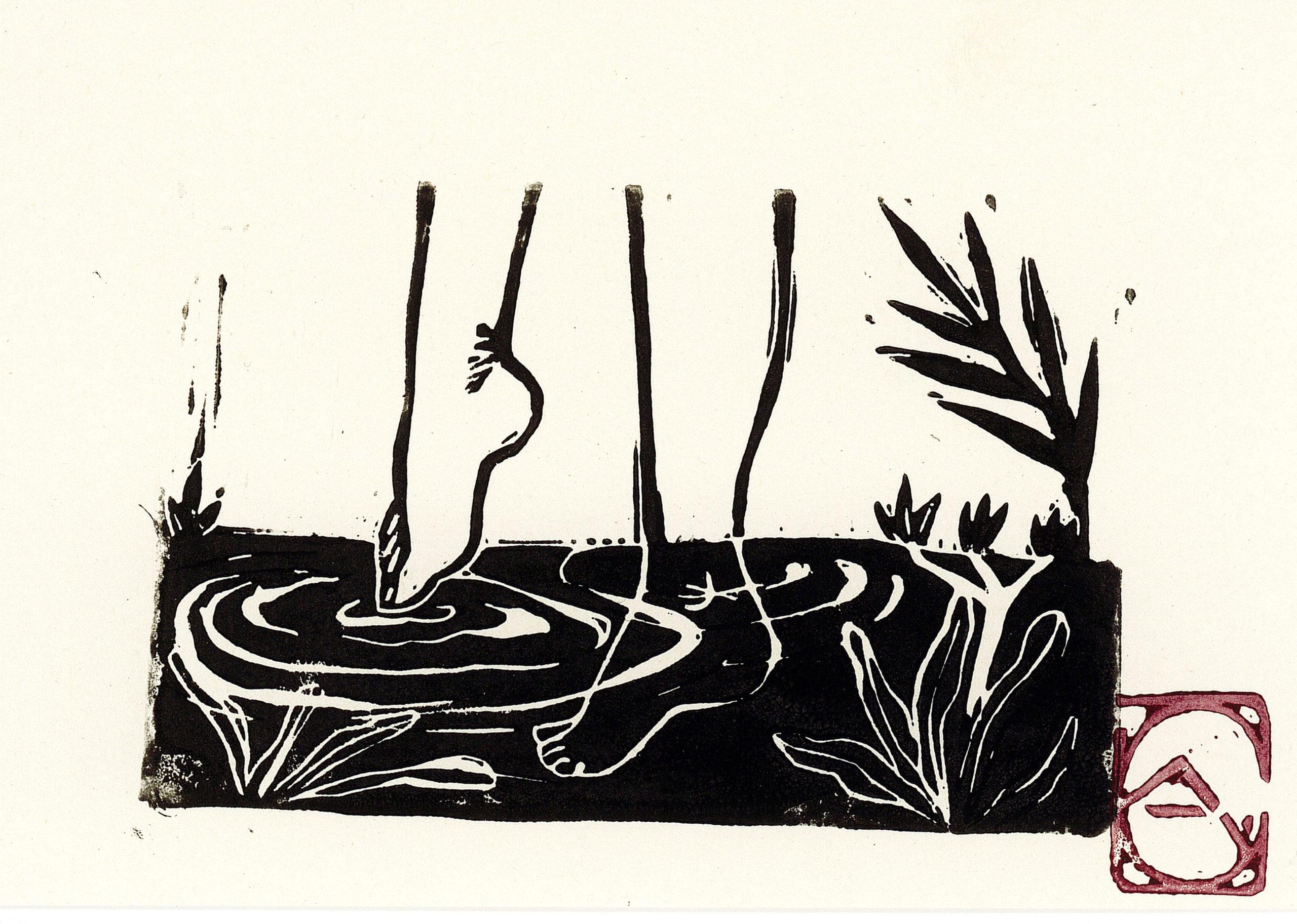 carte, pieds dans l'eau + enveloppe