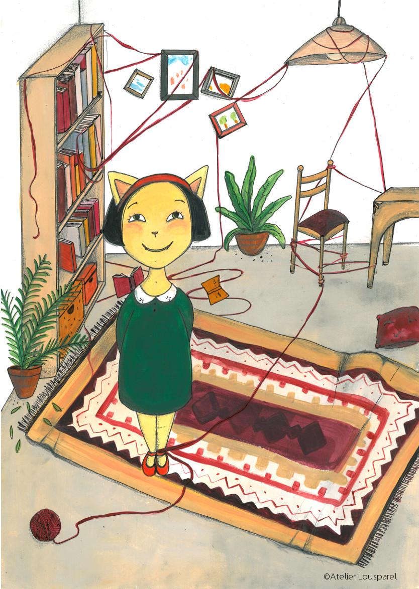 affiche_décoration_enfants_illustration_ chat_bêtise_fille_atelier_lousparel