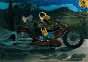 ©atelier_lousparel_affiche_décoration_enfants_illustration_ garçon_biker_sanglier