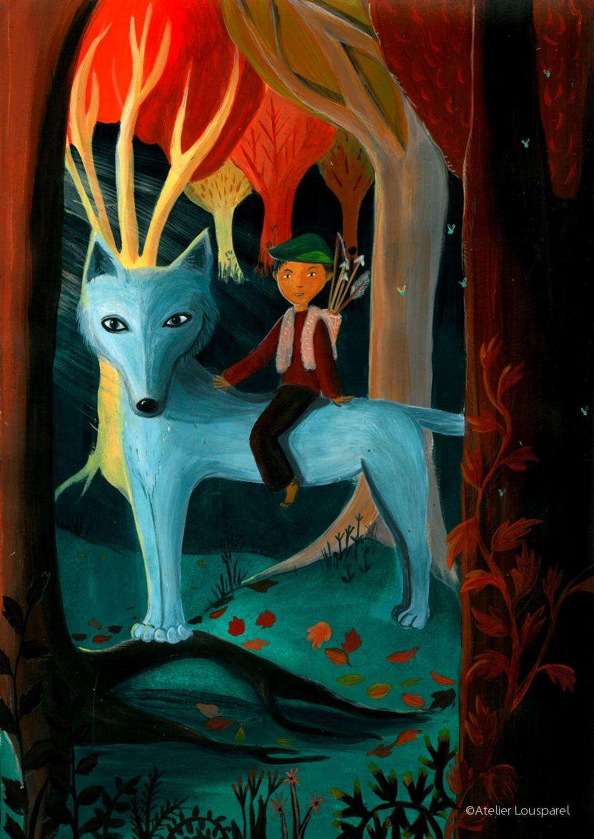 ©atelier_lousparel_affiche_décoration_enfants_illustration_ garçon_forêt_loup