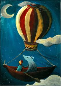 ©atelier_lousparel_affiche_décoration_enfants_illustration_ garcon_voyage_nuit_mongolfiere_loup