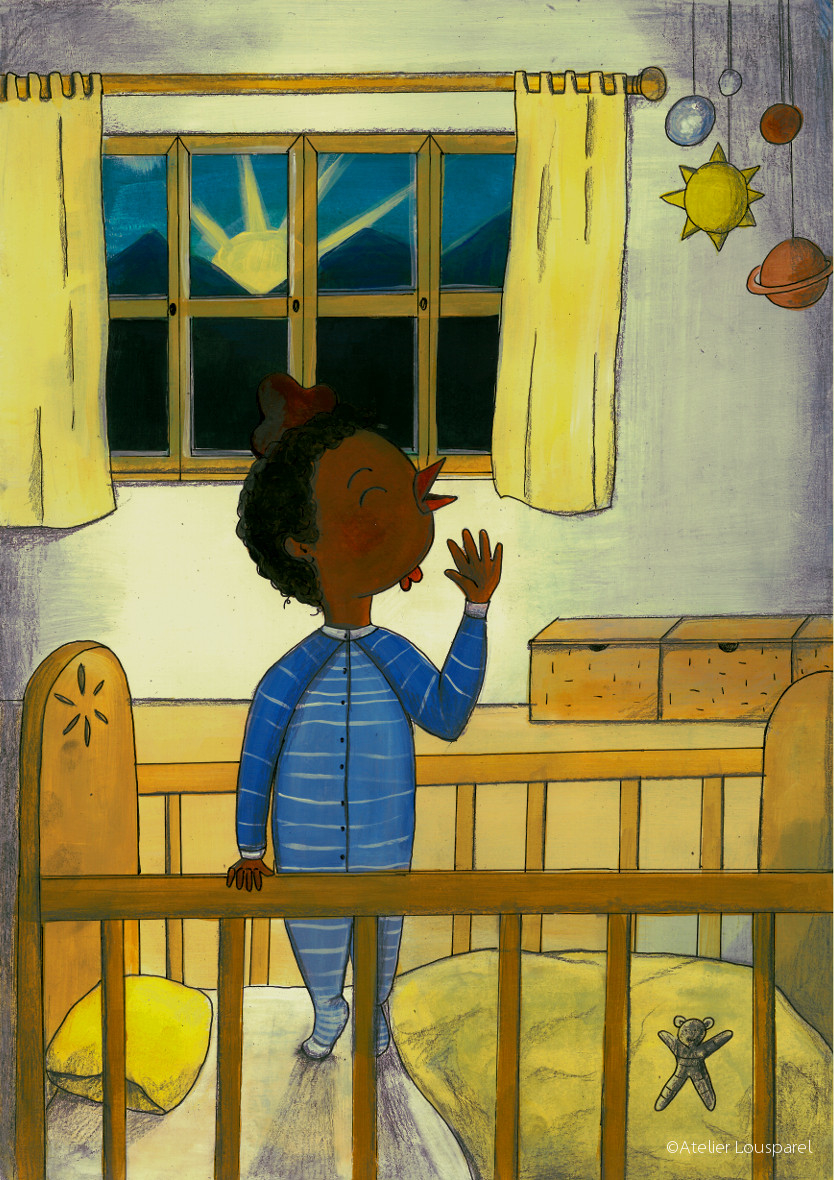 affiche_décoration_enfants_illustration_coq_chante_garçon_ atelier_lousparel