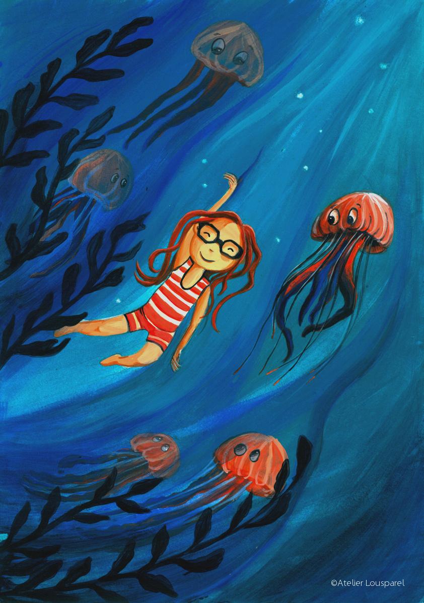 Affiche • la petite fille aux méduses •