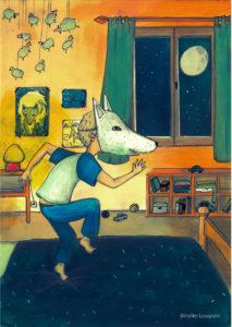 affiche_décoration_enfants_illustration_loup_danse_atelier_lousparel