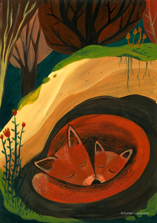 Affiche • les renards endormis •