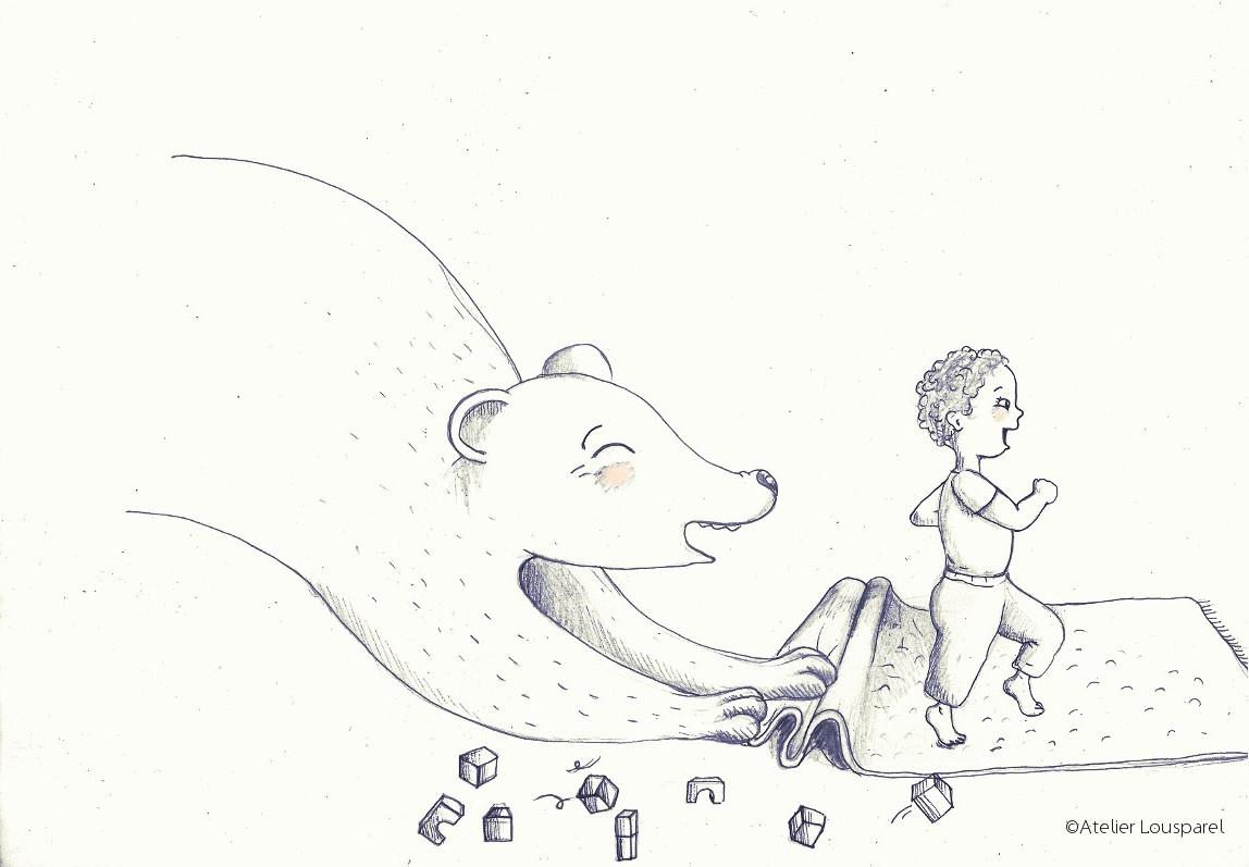 illustration_décoration_enfant_noir_blanc_ours_papa_garçon_atelier_lousparel