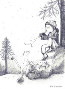 illustration_enfant_décoration_fille_hermine_musique_flute_atelier_lousparel