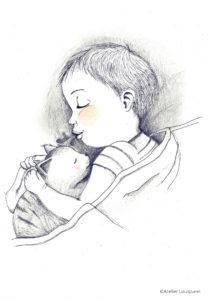 illustration_enfant_décoration_garçon_chat_dodo_atelier_lousparel