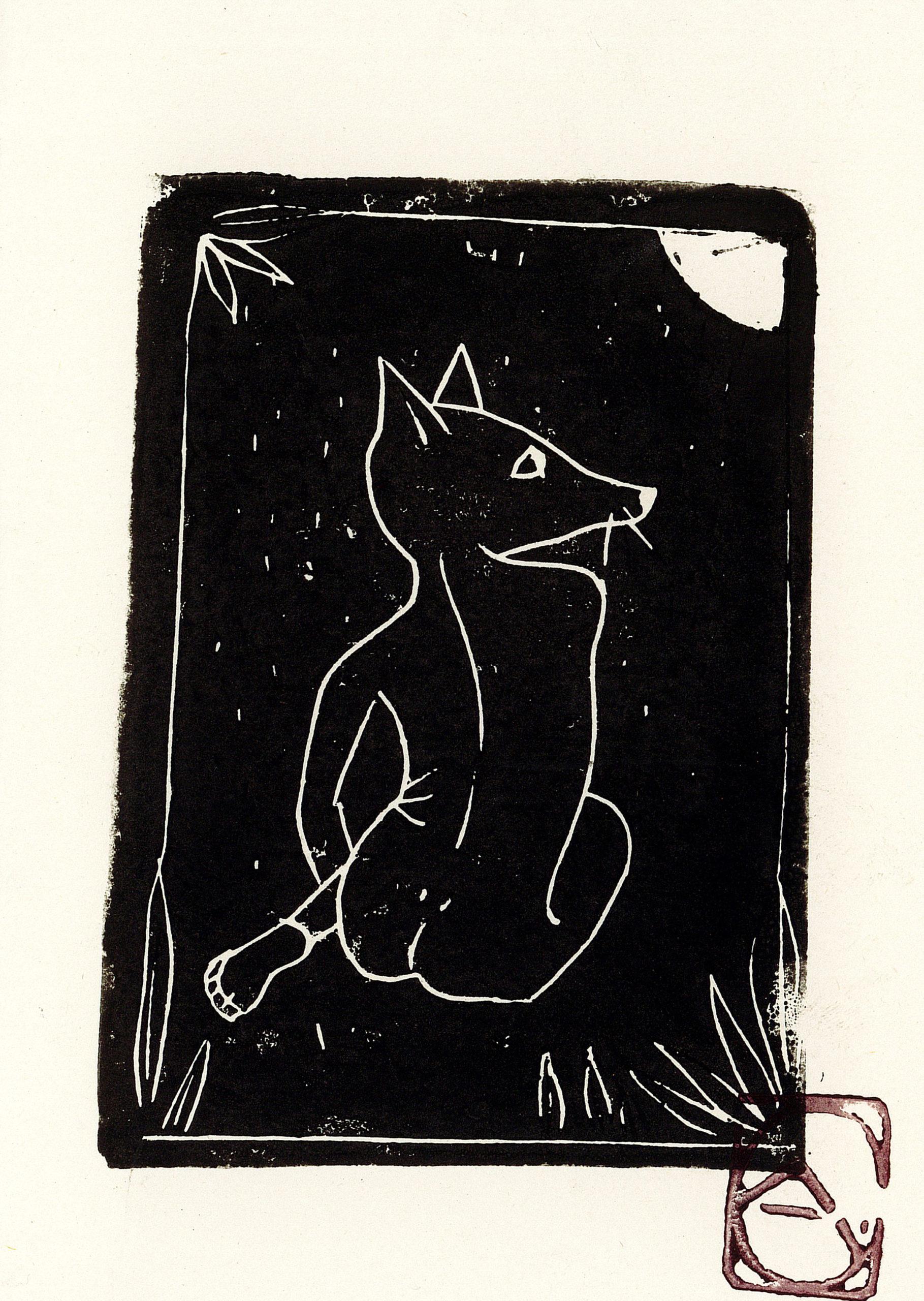 Carte femme-renard + enveloppe