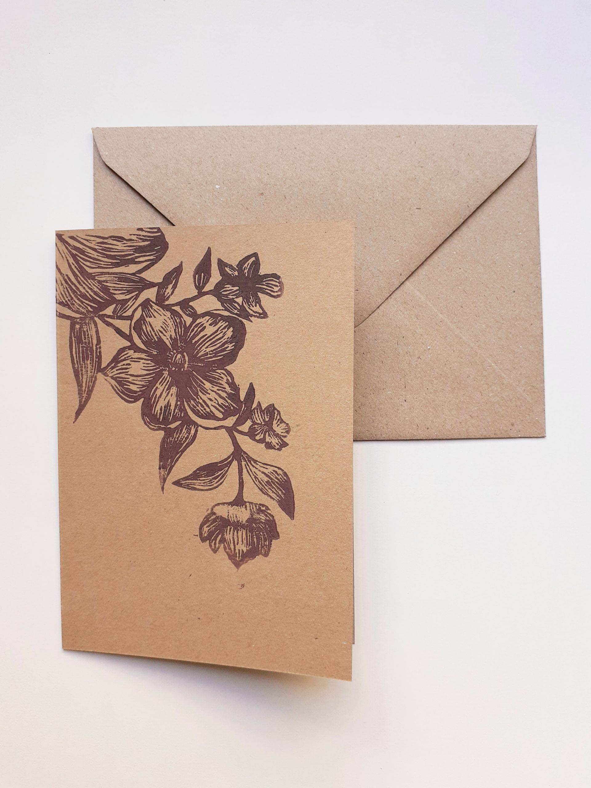 Carte fleurs 1, + enveloppe